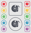 CD or DVD icon sign symbol on the Round and square vector image vector image
