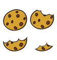 chocolate chip cookies hand drawing cartoon vector image vector image