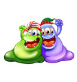 Christmas theme with two monsters having party vector image vector image