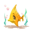 Cute cartoon yellow fish on the sea bottom vector image vector image