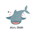 cute smiling whale shark in childish style vector image