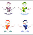 cute snowmens on isolated background vector image vector image