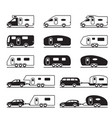 different caravans and campers vector image vector image