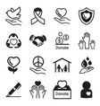 donate and charity basic icons set vector image vector image