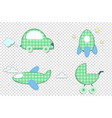 fabric or paper plaid green stickers of car vector image