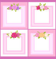 four frames with decorative flowers color banner vector image vector image