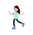 girl roller skating on white vector image
