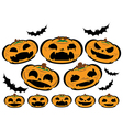 Halloween set pumpkins with different face vector image vector image