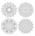 hand drawn zentangle set of 4 mandalas for vector image vector image