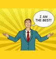 happy businessman rain pop art vector image vector image