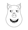 head of malevolent pig in outline style kawaii vector image vector image
