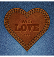 leather heart on jeans vector image vector image