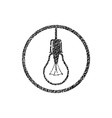 Light bulb icon with hand drawn lines texture vector image vector image