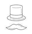 mustache and top hat line icon vector image