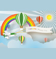 paper art of welcome happy day board with plane vector image vector image