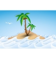 Paper tropical island with palm tree vector image vector image