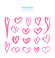 Pink watercolor hearts vector image vector image