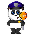 police panda on white background vector image vector image
