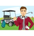 Portrait of handsome male golfer with golf club vector image