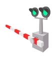 Railroad crossing sign cartoon icon vector image vector image