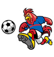 rooster soccer mascot vector image vector image