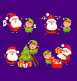 santa claus and elf sets vector image