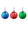 set christmas blue and green ball isolated vector image