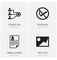set of 4 editable office icons includes symbols vector image vector image