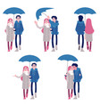 set of couple under umbrella vector image vector image