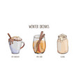 set popular hot winter drinks isolated on white vector image vector image