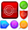 set shiny icon series on buttons stamp vector image