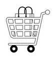 shopping cart with paper bag vector image vector image