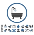 Shower Bath Flat Rounded Icon With Bonus vector image vector image