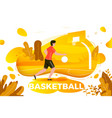 sporty man playing basketball vector image vector image