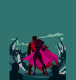 superhero couple back to back silhouette vector image vector image