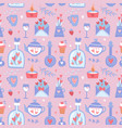 valentine s day seamless pattern with teapot cups vector image