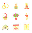 wedding ceremony icons set cartoon style vector image vector image