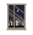 window and night city view flat style vector image