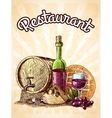 Wine cheese and bread poster vector image vector image