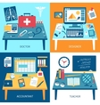Workspace Rooms Set vector image vector image