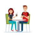 young couple in the restaurant avatars characters vector image