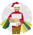 young man walking with shopping bags and boxes vector image