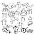 hand drawing breakfast doodle vector image