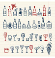 Sketch of alcohols bottles and wineglasses vector image