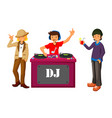 young dj mixing music on turntables on the stage o vector image
