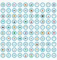 100 municipal icons set cartoon style vector image vector image