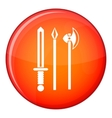 Ancient weapon sword pick and axe icon vector image