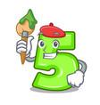 artist character number five at wooden door vector image vector image