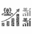 audience growth chart mosaic icon rough pieces vector image vector image