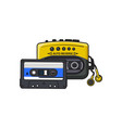 black and yellow audio player walkman and vector image vector image